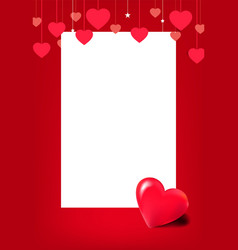 horizontal banner with many red hanging hearts on vector image