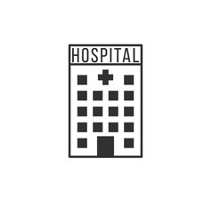 Hospital icon with cross medical building stock vector