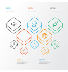 Interface outline icons set collection of brush vector