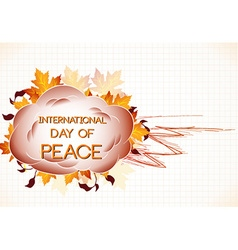 International Day of Peace with cloud vector