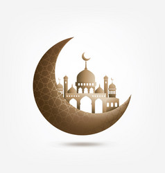 Islamic background half a month with mosque vector