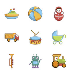 kid toys icons set cartoon style vector image