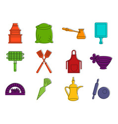 kitchening icon set color outline style vector image