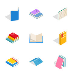 literature icons isometric 3d style vector image