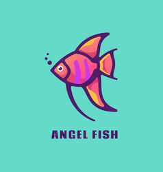 Logo angel fish simple mascot style vector