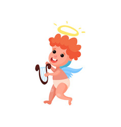 lovely redhead little angel boy playing music on vector image