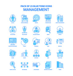 Management blue tone icon pack - 25 icon sets vector