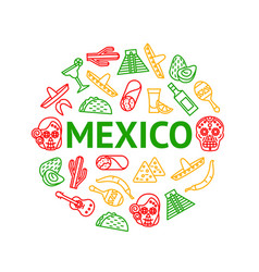 mexican travel and tourism signs thin line round vector image