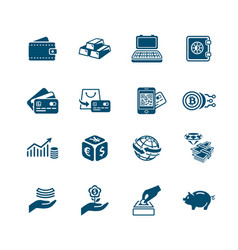 Money and banking icons micro series vector