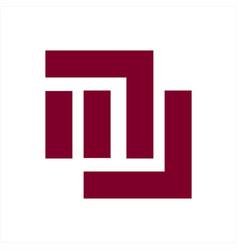 mu nu mw wm um initials geometric letter company vector image