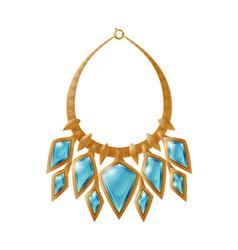 Necklace accessory decorated blue precious stone vector