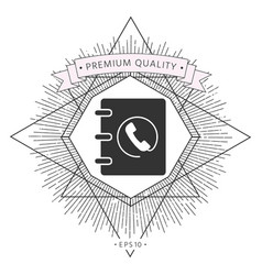notebook address phone book icon with handset vector image
