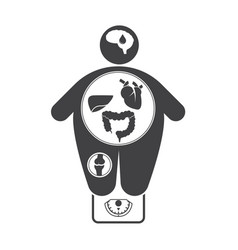obesity related diseases icons vector image