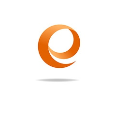 Orange letter E logo graphic shape icon vector image