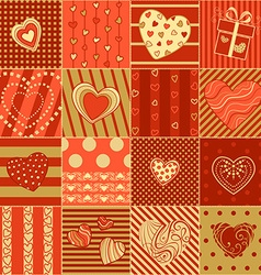 red and gold sseamless hearts pattern vector image