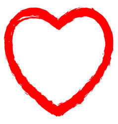 Red heart contour sketch brush stroke vector