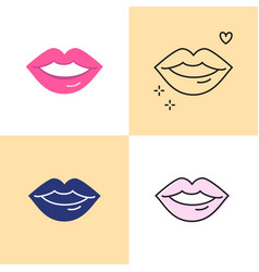 red lips icon set in flat and line styles vector image