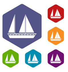 Sailing boat icons set vector