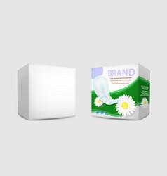sanitary napkin packaging box mockup set vector image