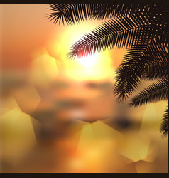 Sea sunset with palmtree leaves and light on lens vector