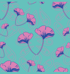 Seamless pattern ginko wax with pink vector