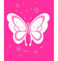 Sequin butterfly embroidery on pink background vector image