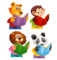 set animal reading book vector image