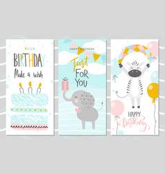 set of birthday greeting cards and party vector image