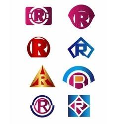 Set of letter R logo Branding Identity Corporate v vector image