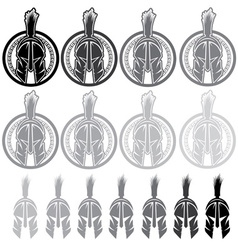 set shields with spartan warrior vector image