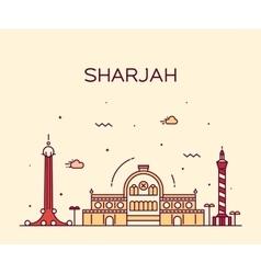 Sharjah skyline linear style vector