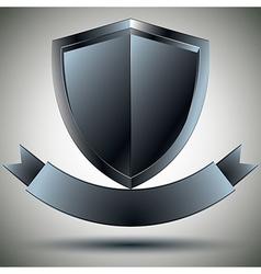 Shield and blank ribbon security symbol vector image