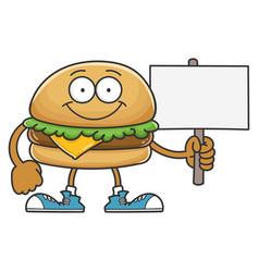 smiling happy cheese hamburger cartoon character vector image