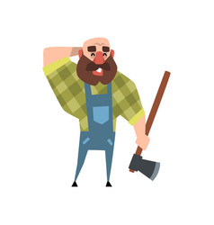 Smiling lumberjack holding axe other hand at back vector