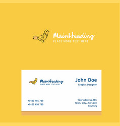 sparrow logo design with business card template vector image