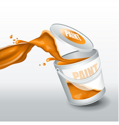 splash orange paint realistic 3d image vector image