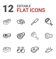 steak icons vector image