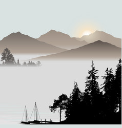 Sunrise on the lake during foggy day vector