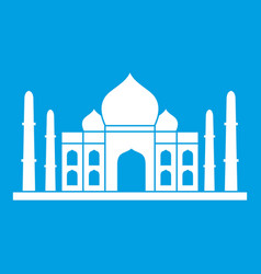 Taj mahal icon white vector