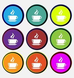 tea coffee icon sign Nine multi colored round vector image vector image