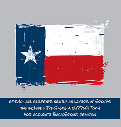 Texan flag flat - artistic brush strokes and vector