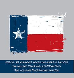 texan flag flat - artistic brush strokes vector image