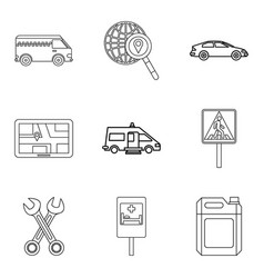 Transportation of people icons set outline style vector