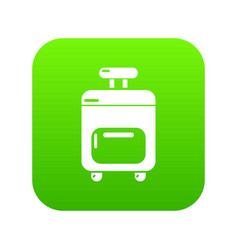 travel bag icon green vector image