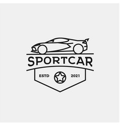 Vintage badge emblem line art car logo design vector