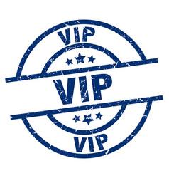 Vip blue round grunge stamp vector