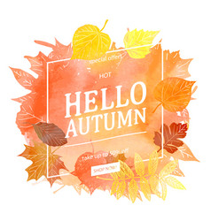 watercolor autumn foliage sale banner vector image