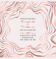 Wedding pink gold invitation vector