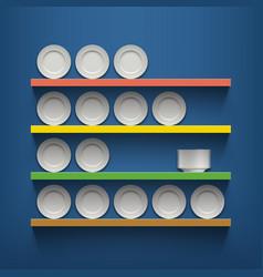 White plates are on shelves vector