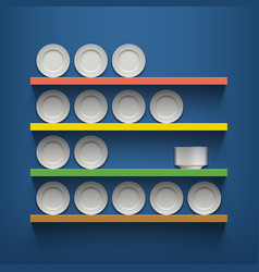 white plates are on the shelves vector image